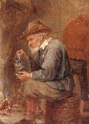 unknow artist An old man sitting by the fire,pouring with into a roemer oil painting picture wholesale