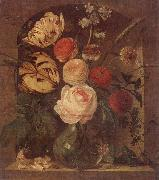unknow artist Still life of various flowers in a glass vase,set in a niche oil painting picture wholesale