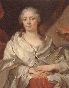 unknow artist Portrait of a lady,half-langth seated,wearing an ivory dress and mantle with a pearl brooch,by a draped curtain and a flaming urn oil painting picture wholesale