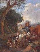 unknow artist A Young herder with cattle and goats in a landscape oil painting picture wholesale