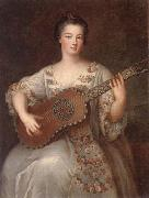 unknow artist Portrait of a young lady,three-quarter length,wearing a floral and ivory lace-trimmed dress,playing the guitar oil painting picture wholesale