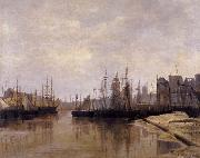 Desavary Charles L'Arriere-port de Dunkerque oil painting reproduction