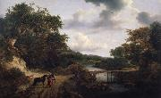 Jacob van Ruisdael Landscape with a footbridge oil painting picture wholesale