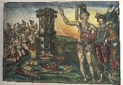 Jacques Le Moyne de Morgues Rene de Laudonniere and the Indian Chief Athore Visit Ribaut's Column oil painting picture wholesale