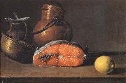 Luis Melendez Still Life with Salmon, a Lemon and Three Vessels oil painting picture wholesale