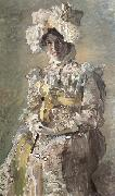 Mikhail Vrubel Portrait of Nadezhda zabela-Vrubel.the Artist's wife,wearing an empire-styles summer dress made to his design oil painting picture wholesale