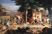 Nahl, Charles Christian Sunday Morning in the Mines oil painting artist