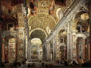 PANNINI, Giovanni Paolo Interior of Saint Peter's oil painting artist
