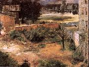 Adolph von Menzel Rear of House and Backyard oil