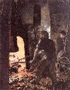 Adolph von Menzel Self-Portrait with Worker near the Steam-hammer oil painting picture wholesale