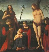 BOLTRAFFIO, Giovanni Antonio The Virgin and Child with Saints John the Baptist and Sebastian Between Two Donors (mk05) oil