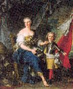 Jean Marc Nattier Mademoiselle de Lambesc as Minerva, Arming her Brother the Comte de Brionne oil painting picture wholesale