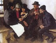 Leibl, Wilhelm Peasants in Conversation oil painting artist