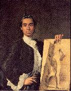 Melendez, Luis Eugenio Portrait of the Artist Holding a Life Study oil painting artist