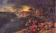 Mossa, Gustave Adolphe Scene of War and Fire oil painting artist