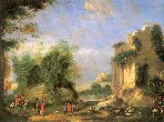 Napoletano, Filippo Landscape with Ruins and Figures oil painting picture wholesale