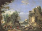 Napoletano, Filippo Landscape with Ruins and Figures (mk05) oil painting picture wholesale