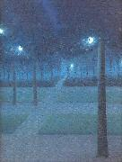 Nuncques, William Degouve de Nocturne in the Parc Royal, Brussels oil painting picture wholesale