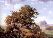 Oehme, Ernst Ferdinand An Autumn Afternoon near Bilin in Bohemia oil