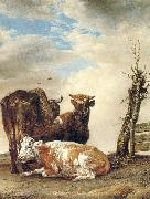 POTTER, Paulus Two Cows a Young Bull beside a Fence in a Meadow oil