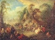 Pater, Jean-Baptiste A Country Festival with Soldiers Rejoicing oil painting artist