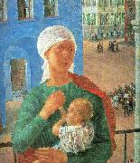 Petrov-Vodkin, Kozma The Year 1918 in Petrograd oil painting artist