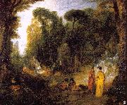 WATTEAU, Antoine Gathering by the Fountain of Neptune oil painting picture wholesale