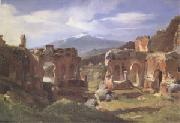 Achille-Etna Michallon Ruins of the Theater at Taormina (Sicily) (mk05) oil painting artist