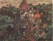 Egon Schiele Krumau Landscape (Town and River) (mk09) oil painting picture wholesale