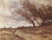 Jean Baptiste Camille  Corot Le Coup de Vent (The Gust of Wind) (mk09) oil painting picture wholesale