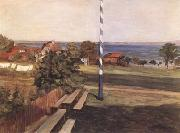 Leibl, Wilhelm Landscape with Flagpole (mk09) oil painting picture wholesale