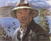 Lovis Corinth Self-Portrait with Straw Hat (mk09) oil painting artist