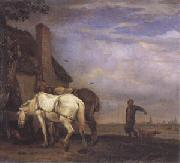 POTTER, Paulus Two Drafthorses in Front of a Cottage (mk05) oil