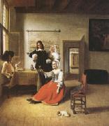 Pieter de Hooch A Woman Drinking with Two Gentlemen) (mk05) oil painting picture wholesale