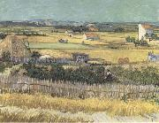 Vincent Van Gogh Harvest at La Crau,with Montmajour in the Background (Blue Cart) (mk09) oil painting picture wholesale