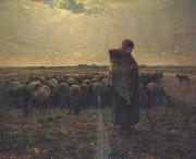 jean-francois millet Shepherdess with her flock (san17) oil painting picture wholesale