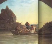 Adrian Ludwig Richter Crossing the Elbe in front of the Schreckenstein (mk10) oil
