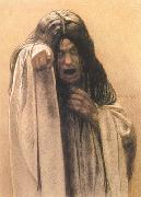 Carlos Schwabe Study for The Wave female figure left of the central figure (mk19) oil