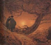 Caspar David Friedrich Two Men Contemplating the Moon (mk10) oil painting picture wholesale