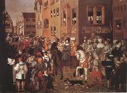 Franz Pforr Entry of Emperor Rudolf of Habsburg into Basel in 1273 (mk22) oil