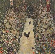 Gustav Klimt Garden Path with Chickens (mk20) oil painting picture wholesale