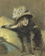 James Tissot Pastel Portraits such as Berthe and his La Femme a Paris series represent Tissot's final works before his religious conversion (nn01) oil painting picture wholesale