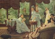 James Tissot In The Conservatory (Rivals) (nn01) oil painting picture wholesale