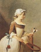 Jean Baptiste Simeon Chardin Girl with a Racquet and Shuttlecock (mk08) oil painting picture wholesale