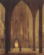 Oehme, Ernst Ferdinand Cathedral in Wintertime (mk22) oil