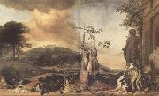 WEENIX, Jan Game Still Life Before a Landscape with Bensberg Palace (mk14) oil painting artist