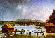 Francois  Ferriere The Old Port of Geneva oil painting artist