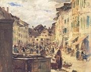 Albert Anker Market in Murten (nn02) oil painting picture wholesale