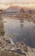 Albert goodwin,r.w.s Lucerne,Switzerland (mk37) oil
