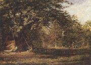 Alfred wilson cox The Woodmans'Bower,Birkland,Sherwood Forest (mk37) oil